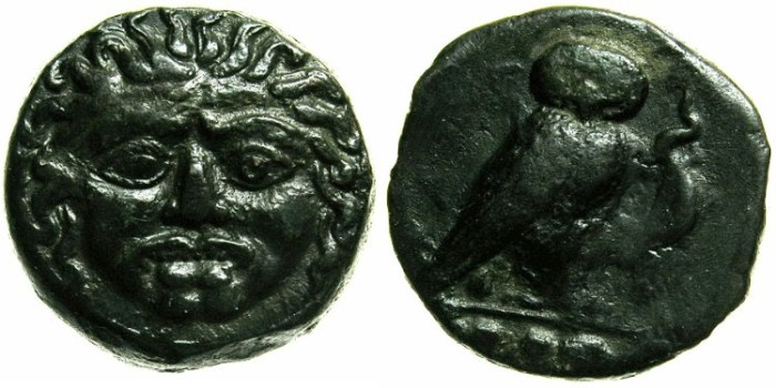 Ancient Coins - SICILY.KAMARINA.Circa 413-405 BC.AE.Tetras.Gorgoneion.Owl with lizard.
