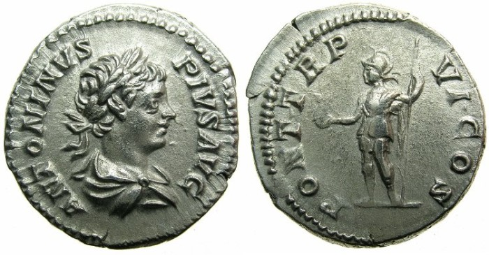 Ancient Coins - ROMAN.Caracalla Augustus AD 198-209.AR.Denarius AD 203.~~~ROMA.