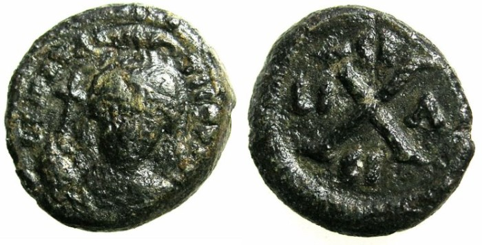 Ancient Coins - BYZANTINE EMPIRE.SICILY.Maurice Tiberius AD 582-602. AE.Decanummia.Mint of SYRACUSE.