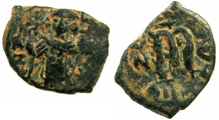 Ancient Coins - BYZANTINE EMPIRE.Constans II AD 641-668.AE.Follis, struck AD 642/43.Mint of CONSTANTINOPLE.