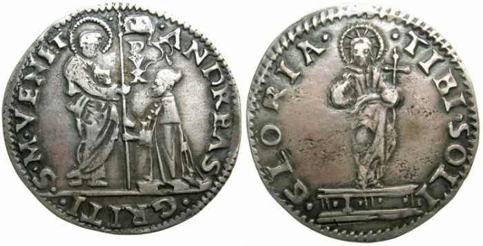 Ancient Coins - ITALY.VENICE.Andrea Gritti AD 1524-1538.AR.Mocenigo.~~~Assayer  I.Unpublished(?) or unfinished reverse die.