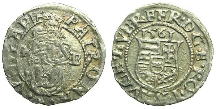 Ancient Coins - HUNGARY.Ferdinand I Hapsburg AD 1526-1564.AR.Denar 1561.Kremnitz mint.