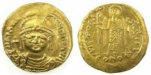 Ancient Coins - BYZANTINE EMPIRE.Maurice Tiberius AD 582-602.AV.Solidus.Mint of CONSTANTINOPLE. Lightweight issue without stars in fields.