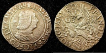 World Coins - ITALY.MILAN.Galeazzo Maria Sforza AD 1466-1476.AR.Testone.N.D.***POROUS COIN FROM WATER DAMAGE ****
