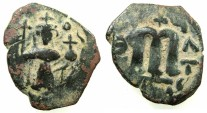 Ancient Coins - PSEUDO-BYZANTINE.7th Cent AD.AE.Follis. after Constans II ( AD 642-668). ~~~.Standing imperial figure.