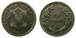 World Coins - PERU.REPUBLIC.AE.Centavo 1904.