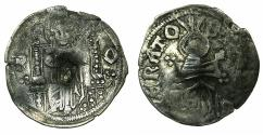 World Coins - SERBIA.Stefan VIII Uros IV Dusan as Emperor AD 1345-1355.AR.Dinar. Bulgarian countermark Blank square.