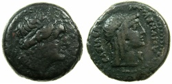 Ancient Coins - PTOLEMAIC EMPIRE.CYRENE.CYRENAICA.Ptolemy IV-Ptolemy VIII circa 221-140BC.AE.20.7mm.~#~.Head of Libya