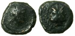 Ancient Coins - SICLILY.PANORMOS.2nd cent BC.Anepigraphic.AE.Semis. Zeus. Reverse.Januform heads.