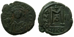 Ancient Coins - BYZANTINE EMPIRE.Maurice Tiberius AD 582-602.AE.Follis, struck AD 583/4.Mint of NIKOMEDIA.