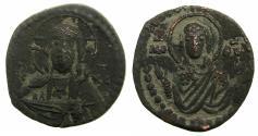 Ancient Coins - BYZANTINE EMPIRE.Anonymous.AE.Follis.Class G.Mint of CONSTANTINOPLE. Christ Pantocratora.Reverse. Virgin Orans.
