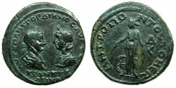 Ancient Coins - MOESIA INFERIOR.TOMIS.Gordian III and Tranquillina AD 241-244.AE.4 1/ 2 Assaria.~#~.Nemesis standing holding measuring rod.