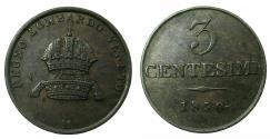 World Coins - ITALY.LOMARDY AND VENETIA, under AUSTRIA.Franz Joseph 1848-1916.AE.3 Centesimi 1850.MILAN.