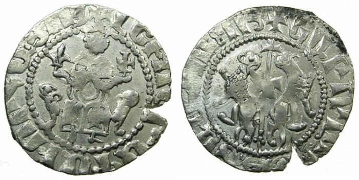 Ancient Coins - CILICIAN ARMENIA.Levon I AD 1198-1219.AR.Tram.~~~ King holds lys in right hand. RARE.
