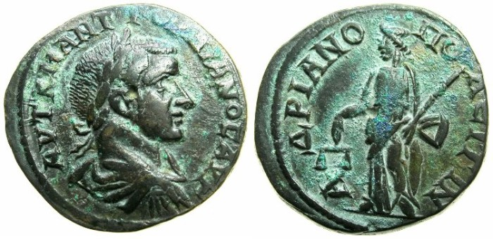 Ancient Coins - THRACE.HADRIANOPOLIS.Gordian III AD 238-244.AE.27mm.~#~.Dikaiosyne standing holding scales.