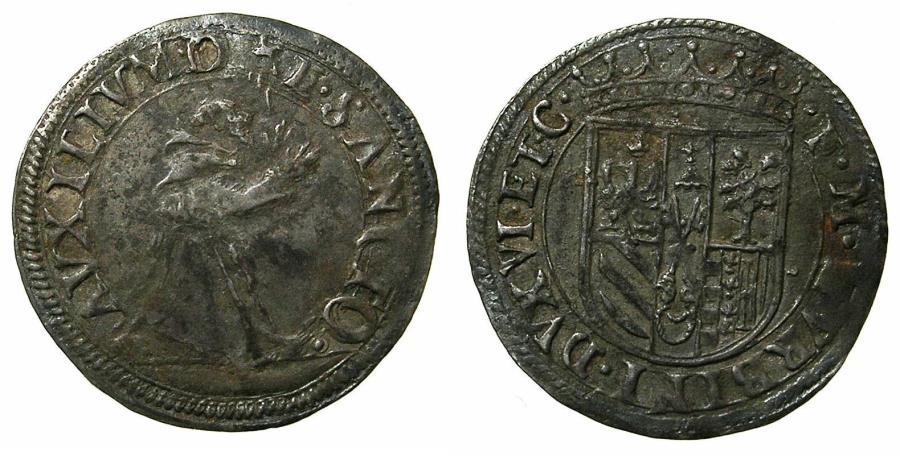 World Coins - ITALY.URBINO.Francesco Maria II AD 1574-1624.AR.Mezzo Giullio. Saint Frances recieving the stigmata
