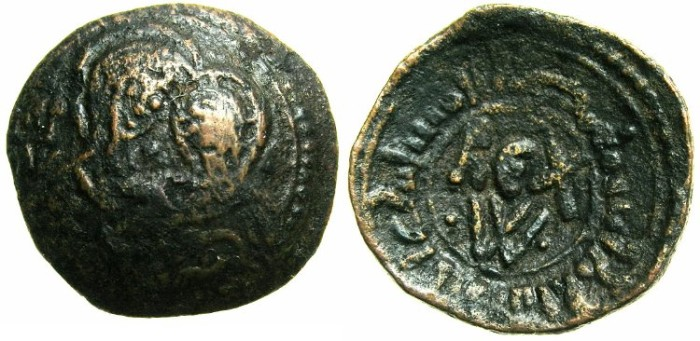 Ancient Coins - ITALY.SICILY.William I AD 1154-1166.AE.Frazione di Follaro.~~~Virgin and child.