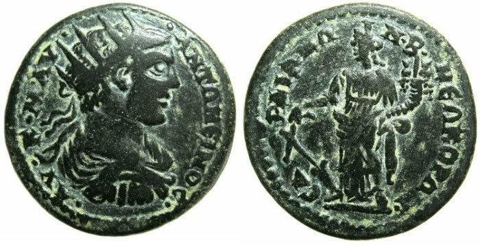 Ancient Coins - LYDIA.SARDES.Caracalla AD 198-217.AE.26.~#~Tyche ( Fortuna ) standing left.