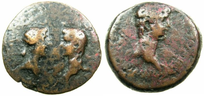 Ancient Coins - CRETE.KNOSSOS.Nero with Octavia AD 54-68.AE.23mm.Struck by magistrate Volumnius Lupinus IIviri circa 55-60.