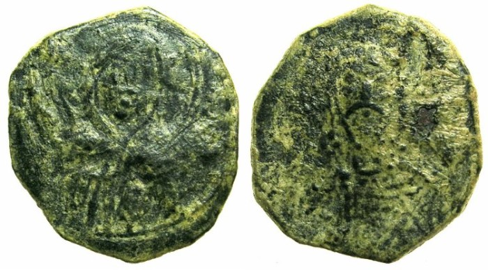 Ancient Coins - BYZANTINE EMPIRE.CYPRUS.Alexius I AD 1081-1118.AE.Tetateron.~~~Virgin.~#~Half length figure of Emperor.