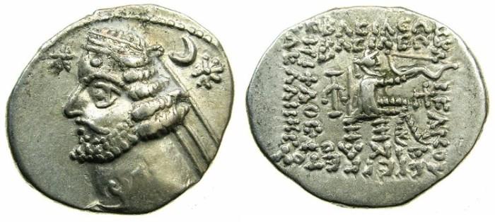 Ancient Coins - PARTHIA.Orodes II 57-38 BC.AR.Drachma.Mint of RHAGAE.