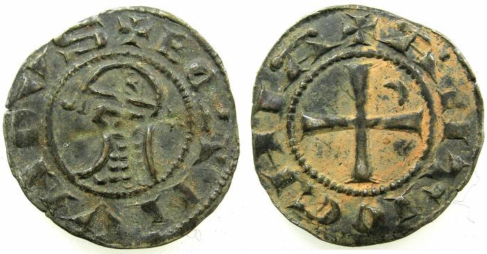 World Coins - CRUSADER STATES.Principality of Antioch. Bohemond IV 2nd period 1219-1233 or Bohemond V 1233-1251 Bi.Denier.Class 0.