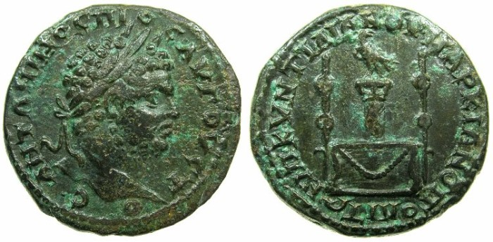 Ancient Coins - MOESIA INFERIOR.MARCIANOPOLIS.Caracalla AD 198-217.AE.25mm.~#~.Eagle on column,two vases all on altar.