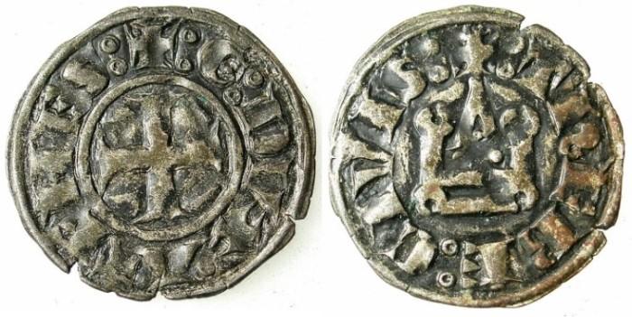 Ancient Coins - CRUSADER STATES.GREECE.ATHENS.William I of la Roche AD 1280-87 or Guy II of la Roche AD 1287-1308.Bi.Denier.Type GR 105.