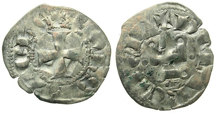 Ancient Coins - CRUSADER.Principality of ACHAIA.Jean of Anjou-Gravina 1318-1333.Bi.Denier.Type A3