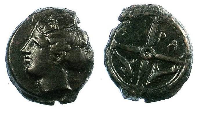 Ancient Coins - SICILY.Syracuse.C.410-405 BC.AE.15mm.Arethusa.Rev.Wheel