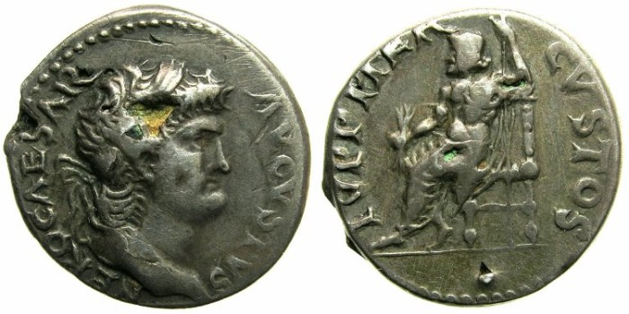 Ancient Coins - ROMAN.Nero AD 54-68.Plated denarius.~#~Jupiter the guardian.