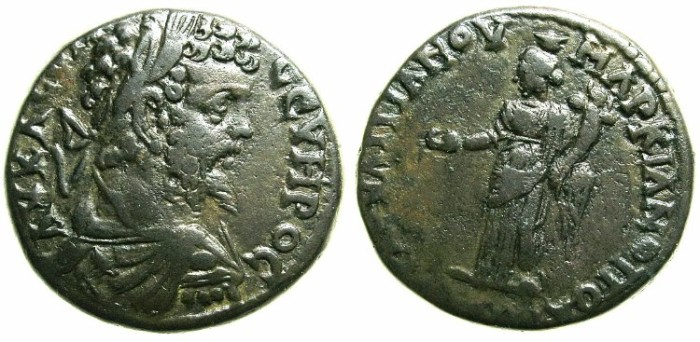 Ancient Coins - MOESIA INFERIOR.MARCIANOPOLIS.Septimius Severus AD 193-211.AE.25~~~.Homonia standing with patera and cornucopia.