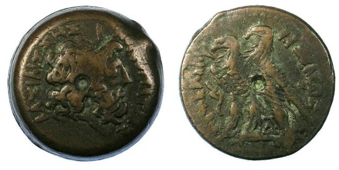 Ancient Coins - EGYPT:ALEXANDRIA.Ptolemy VI Philometer  and Cleopatra II180-145 BC.AE.28.Issue naming his Sister-wife Cleopatra II