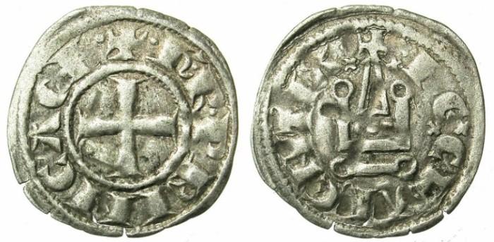 Ancient Coins - CRUSADER.ACHAIA.Charles I or II of Anjou C.1278-1289.Bi.Denier.Clarentza mint.
