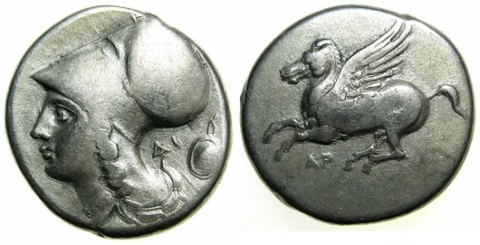 Ancient Coins - AKARNANIA.ARGOS AMPHILOCHICUM.Circa 350-250 BC.AR.Stater.~~~Pegasus.~#~Athena.
