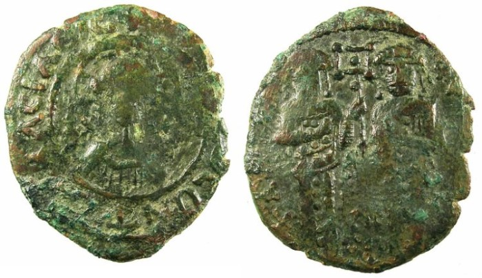 Ancient Coins - BYZANTINE EMPIRE.Andronicus II and Michael IX AD 1294-1320.AE.Assarion.Mint of Constantinople.