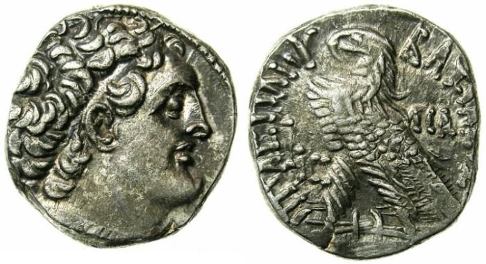 Ancient Coins - EGYPT.ALEXANDRIA.Ptolemy XII Neos Dionysios 80-51 BC.AR.Tetradrachm.1st reign 80-58 BC.Mint of Alexandria.Struck 66/65 BC.