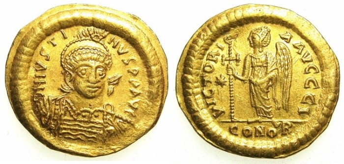 Ancient Coins - BYZANTINE EMPIRE.Justin I AD 518-527.AV.Solidus. Mint of CONSTANTINOPLE,officina I.