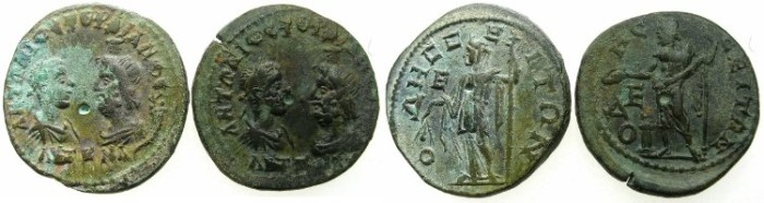 Ancient Coins - THRACE.ODESUS.Gordian III and Serapis AD 238-241.AE.5 Assaria.Two coins obverse die matach.~#~.Zeus, ~#~ Demetra.