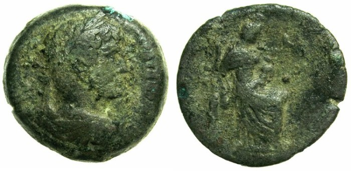 Ancient Coins - EGYPT.ALEXANDRIA.Hadrian AD 117-138.AE.Diobol, struck AD 121/122.~#~Isis seated suckling Harpokrates.