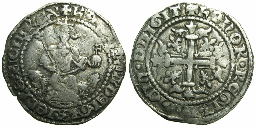 World Coins - ITALY.Kingdom of Naples.Charles II of Anjou AD 1285-1309.AR.Gigliato.2nd coinage period 1303-1309.