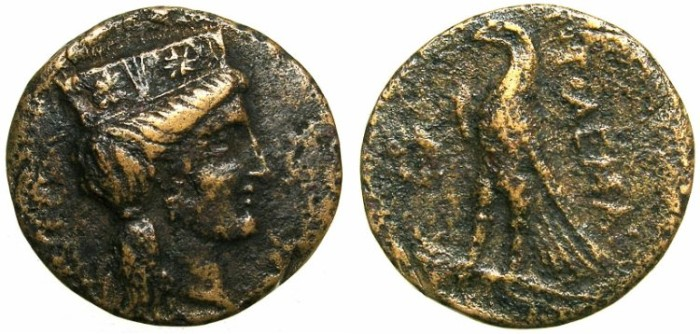 Ancient Coins - PTOLEMAIC EMPIRE.CYPRUS.Ptolemy I Soter 310-306 BC.AE.20.Aphrodite wearing crown.Eagle.