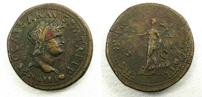 Ancient Coins - ROME Nero AD 54-68 AE Brass Dupondius Rev.Victory