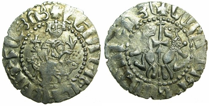 Ancient Coins - CILICIAN ARMENIA.Levon I AD 1199-1219.AR.Tram.~~~Jewels left and right shoulder.