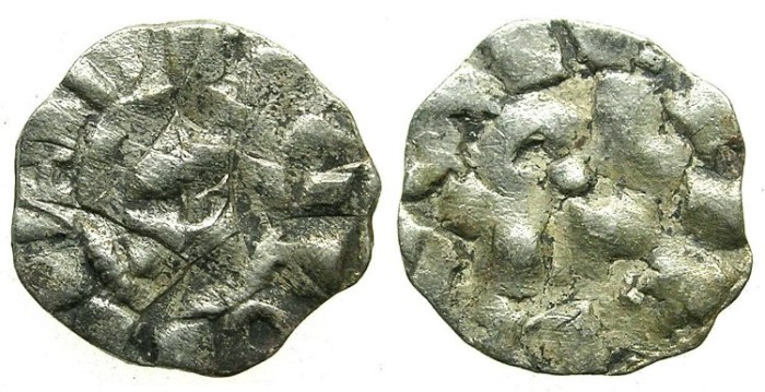 Ancient Coins - CRUSADER.1st crusade:preferred coinage.TUSCANY.LUCCA.12th cent.AD.Bi.Denier.Rough  style.