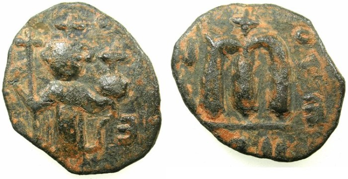 Ancient Coins - PSEUDO-BYZANTINE.7th Cent AD.AE.Follis. after Constans II ( AD 642-668).~~~ standing imperial figure.