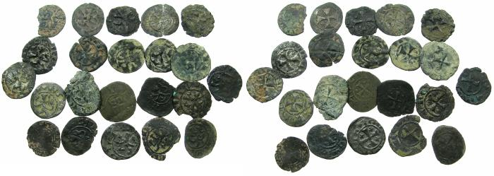 World Coins - CRUSADER STATES.CYPRUS.Group of 22 billon deniers from Henry I to venetian period.