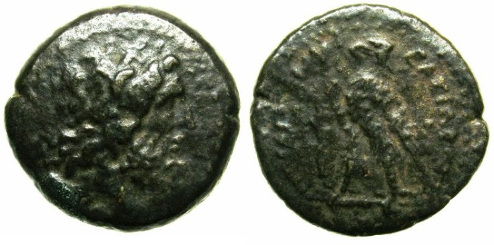 Ancient Coins - EGYPT.Ptolemaic Empire.Palestine.Ptolemy II Phiadelphus 285-246 BC.Mint of IOPPE (JAFFA).AE.19.~#~Zeus Ammon.Eagle with Harpa in front.