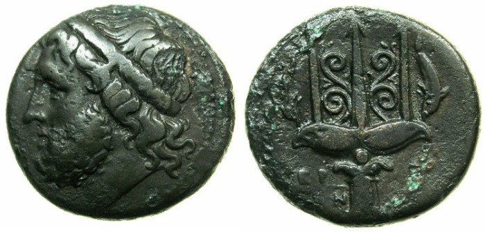 Ancient Coins - SICILY.SYRACUSE.Hieron II 275-215 BC.AE.20.7mm.~#~.Trident with dolphins.