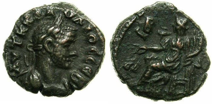 Ancient Coins - EGYPT.ALEXANDRIA.Claudius II Gothicus AD 268-270.Billon Tetradrachm.Struck AD 269/70.~#~.Dikaiosyne seated